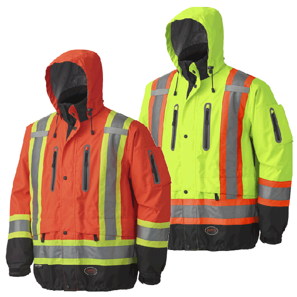 Hi-Viz Waterproof/Breathable Premium Safety Jacket - 300D OX. POLY