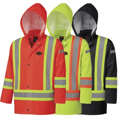 FR/PU Waterproof Safety Jacket With Pockets
