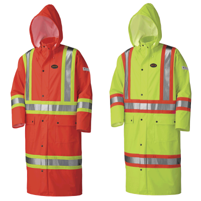 FR Waterproof Hi-Viz Sfty Long Coat - Pu Stretch - Det. Hood