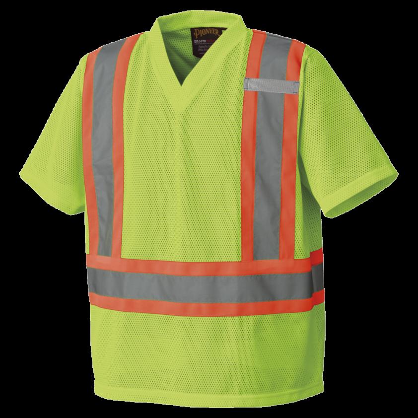 Hi-viz Poly Mesh Safety T-shirt, with Hangable Bag