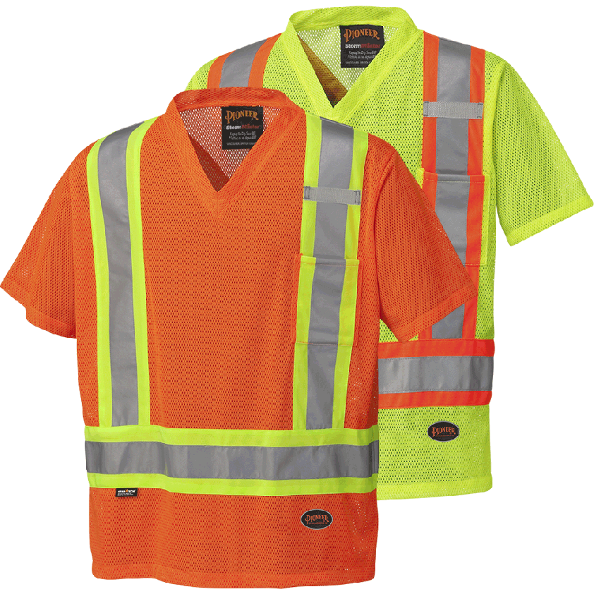 Hi-viz Poly Mesh Safety T-shirt, with Chest Pocket