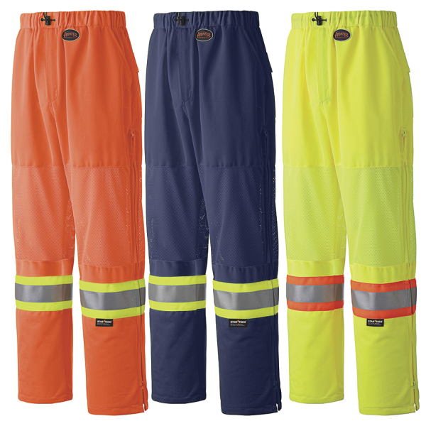 Hi-Viz Poly Knit Traffic Safety Pants - Mesh Leg Panels