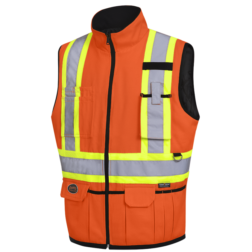 Hi-Viz Poly/Cotton Reversible Insulated Safety Vest
