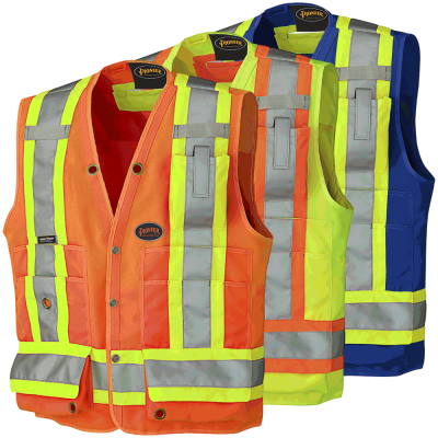 Hi-Viz Surveyor's Safety Vest – 150D Woven Twill Poly