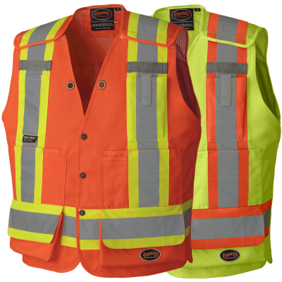 Hi-Viz Drop Shoulder Tear-Away Surv. Safety Vest