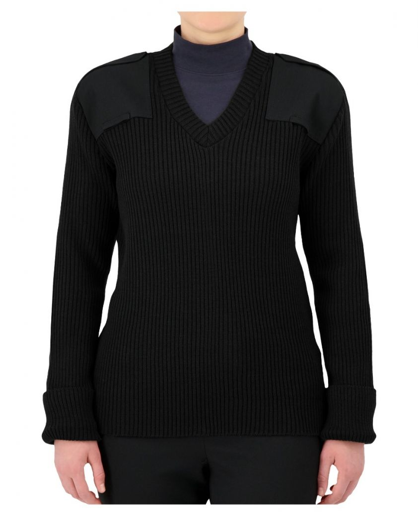 Military Style Rib-Knit Sweater