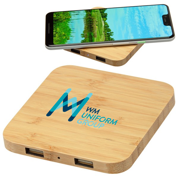 Bamboo 5W Wireless Charger with Dual USB Ports