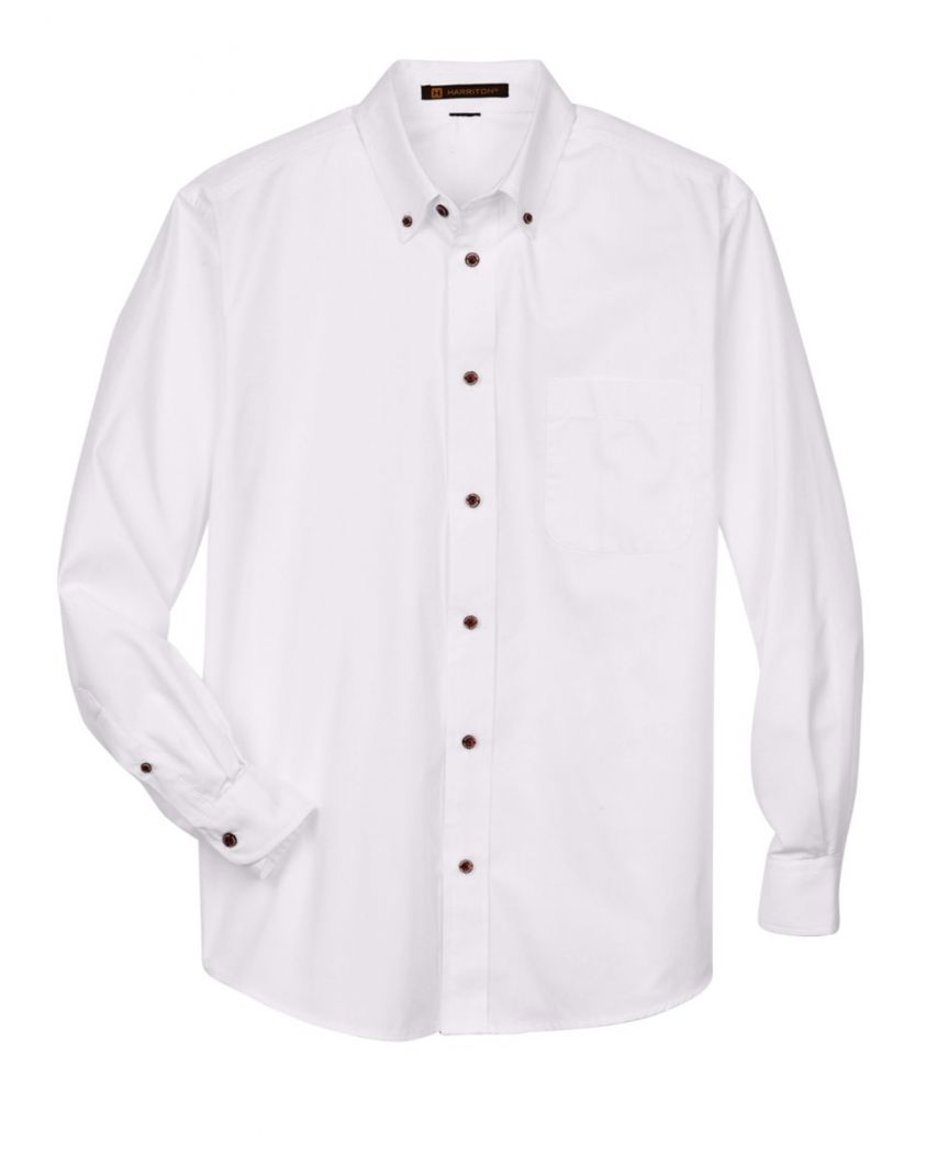 Harriton Men's Easy Blend™ Long-Sleeve Twill Shirt with Stain-Release