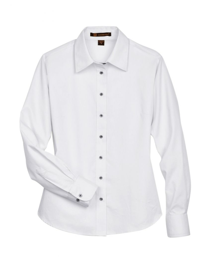 Harriton Ladies' Easy Blend™ Long-Sleeve Twill Shirt with Stain-Release