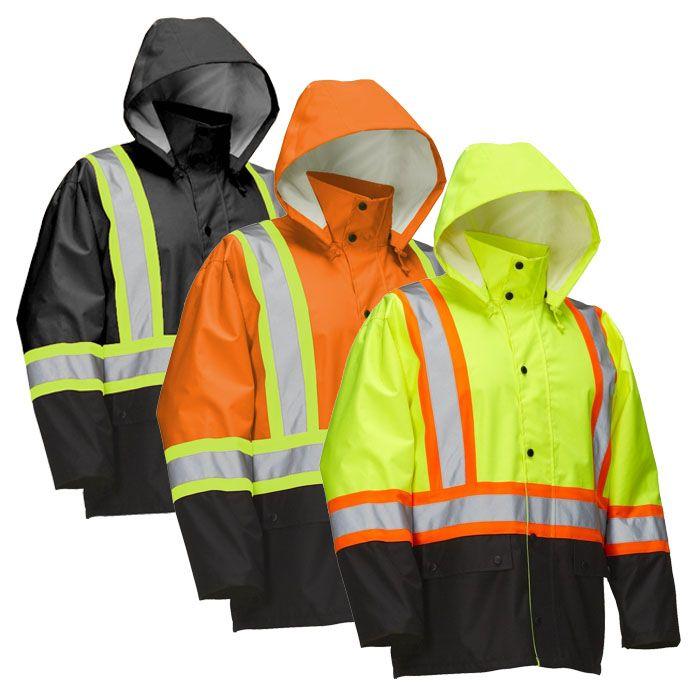 Hi Vis Safety Rain Jacket with Snap-Off Hood