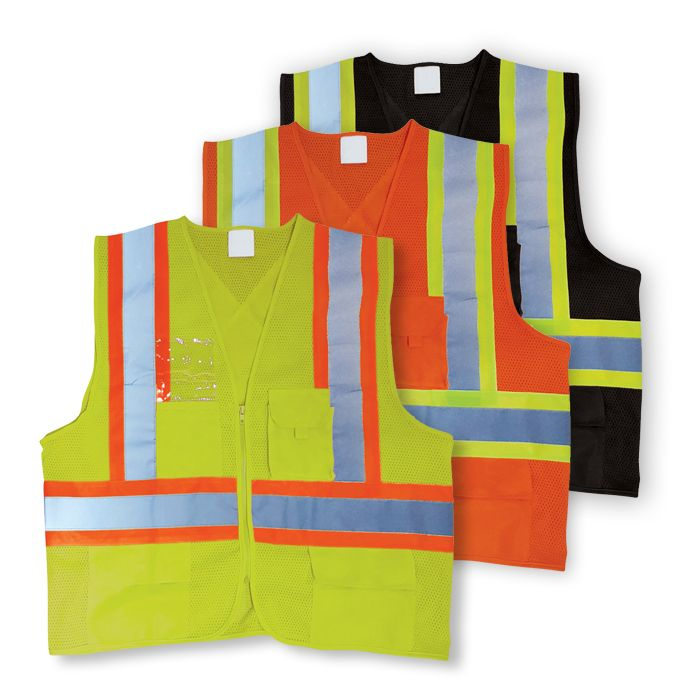 100% Polyester Mesh Safety Vest with Zipper Front